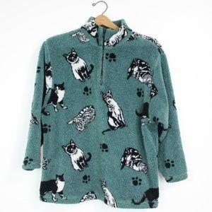 Vintage Green Cat Printed Fuzzy Fleece Sz M